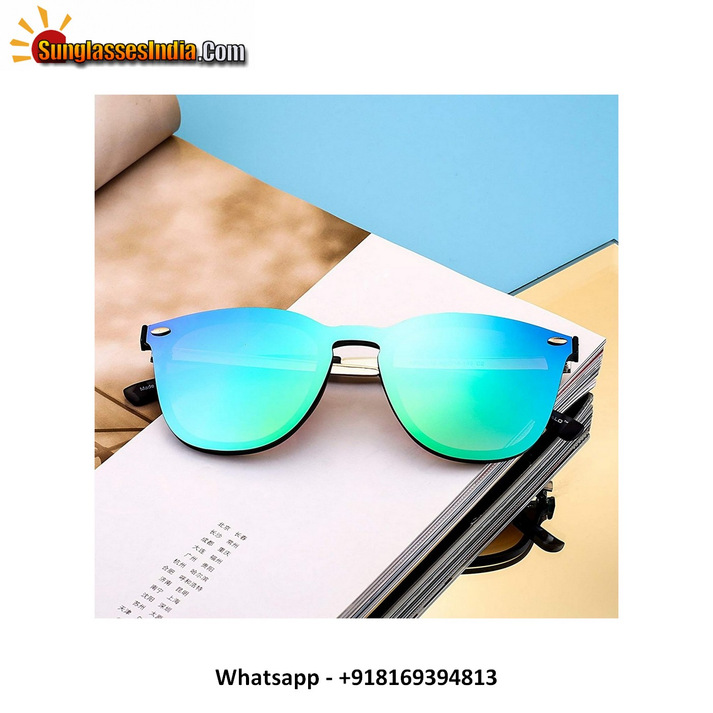 Rimless Mirrored Sunglasses One Piece Reflective Eyeglasses for Men Women