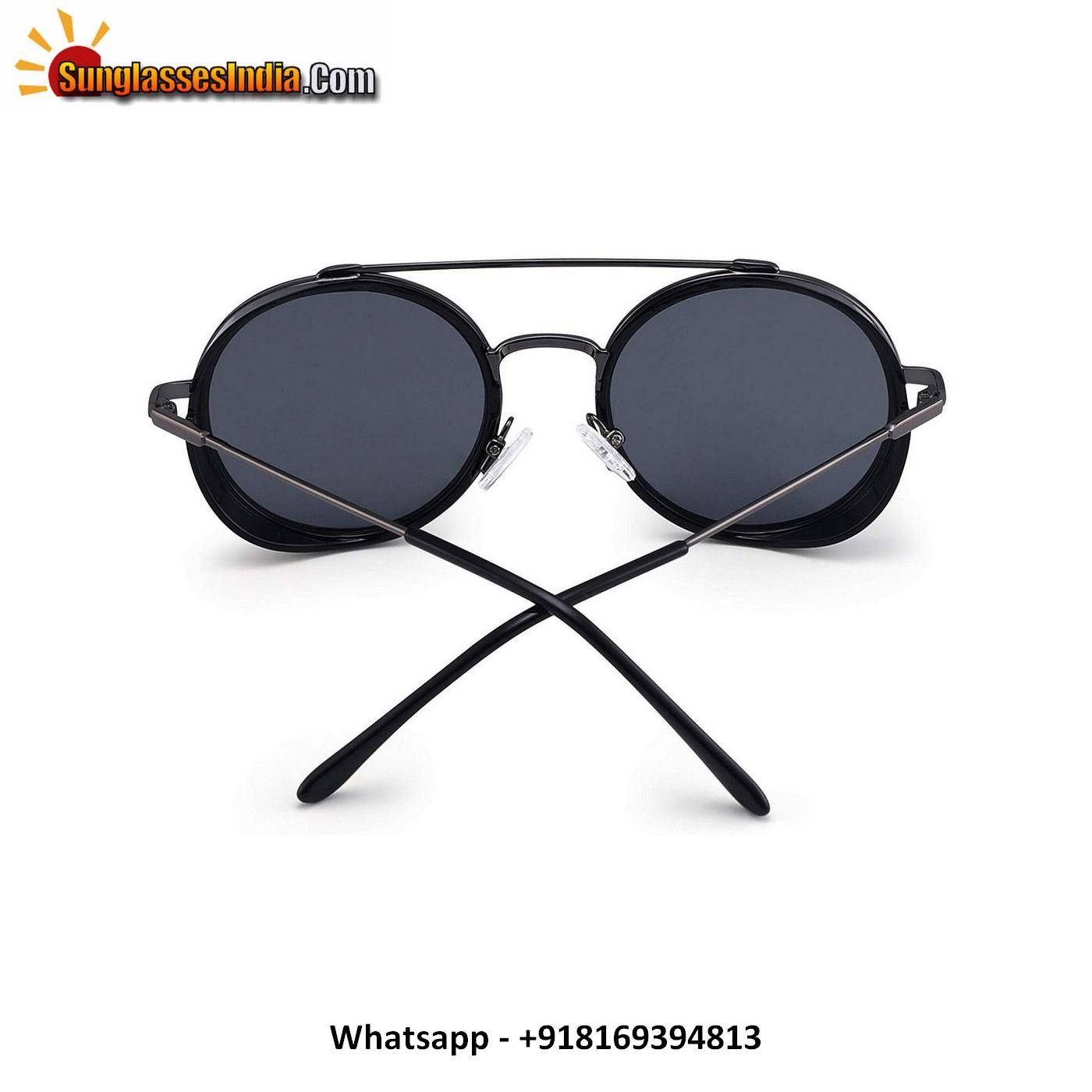 Retro Round Steampunk Sunglasses for Women Men Circle Lens Metal Frame