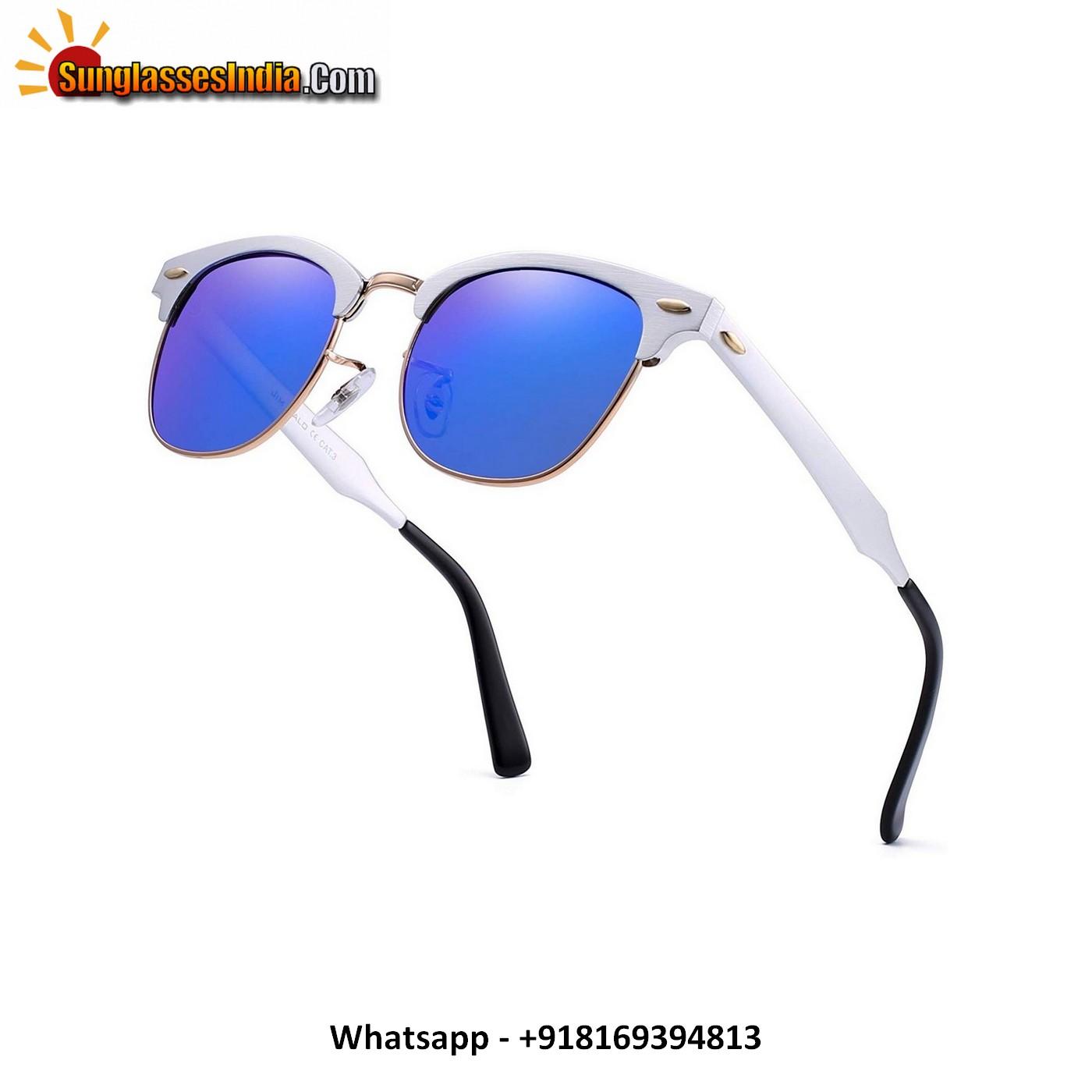 Blue Mirror Vintage Polarized Sunglasses for Women Men Semi Rimless Metal Shades