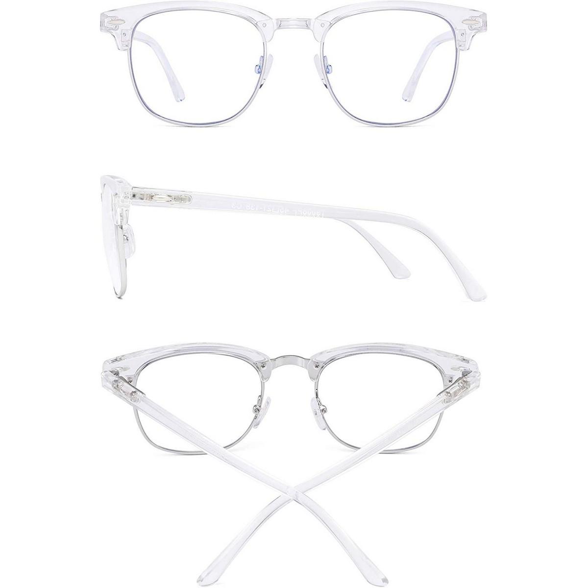 Clear Transparent Blue Light Blocking Computer Glasses Retro Semi-rimless Style Reduce Eye Strain Video Game Eyeglasses Men Women