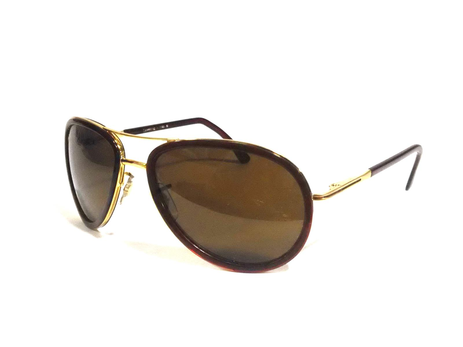 Gold Aviator Sunglasses for Large Face with Brown Border