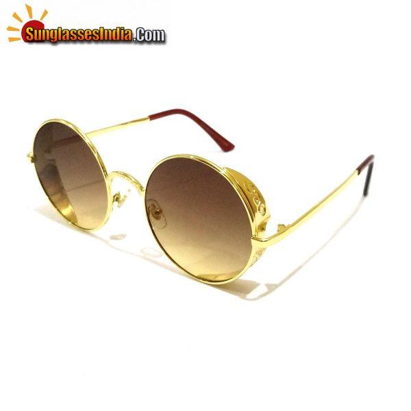 Brown Round Trendy Club Sunglasses Tik Tok Video Goggles Sunglasses for Women