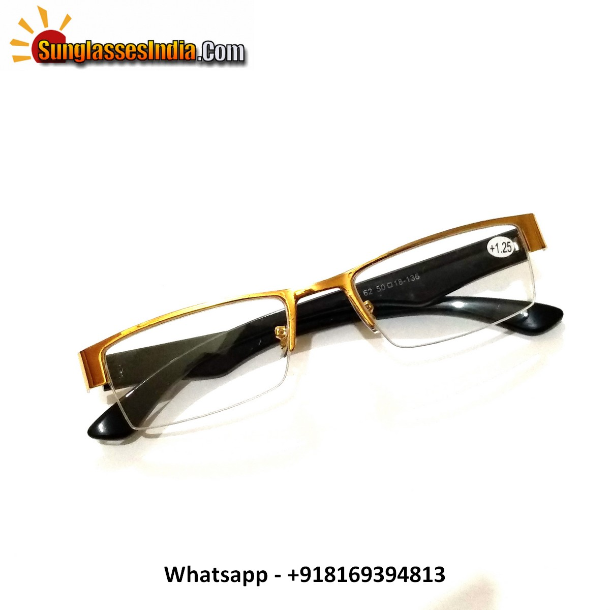 Gold Half Frame Reading Glasses Power 125