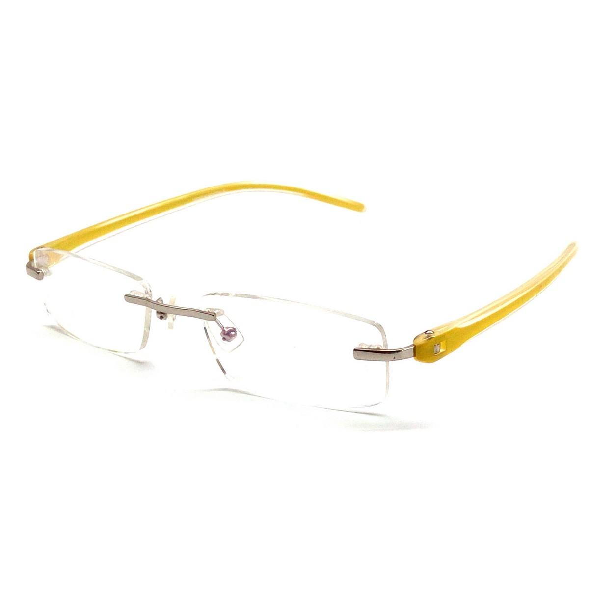 Yellow Rimless Computer Glasses