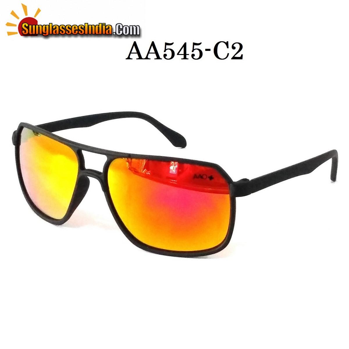 Black Frame Orange Mirror Rectangle Sunglasses