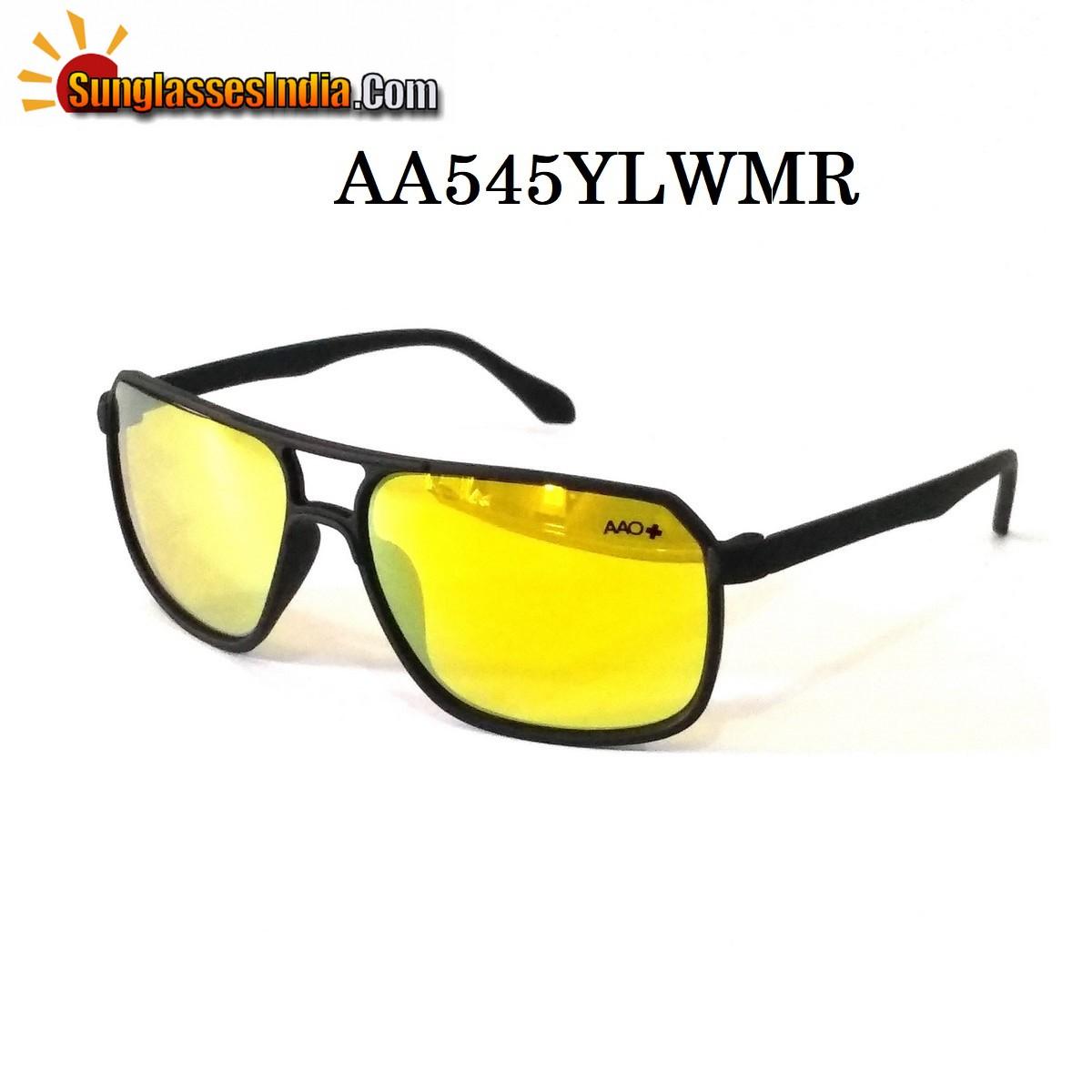 Yellow Mirror Night Driving Rectangle Sunglasses