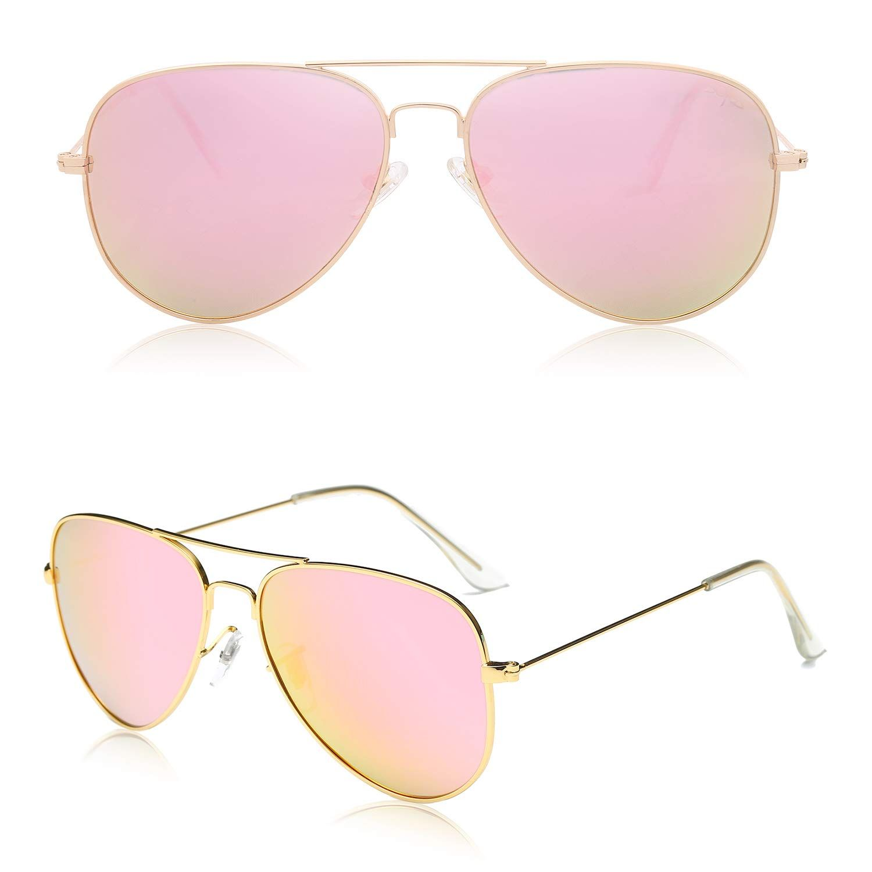 Classic Pink Mirror Aviator Polarized Sunglasses