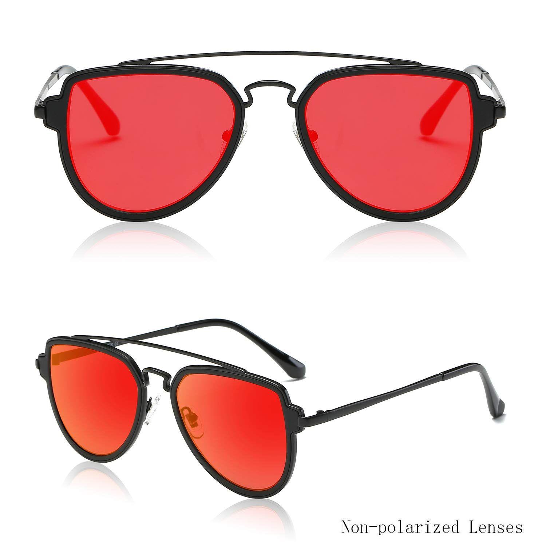 Double Bridge Black Red Mirror Sunglasses