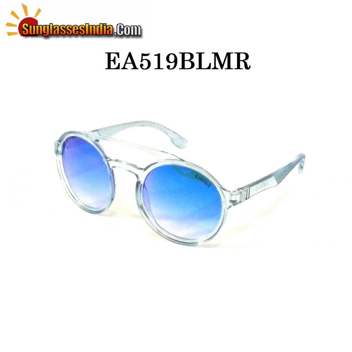 Blue Mirror Round Sunglasses EA519BLMR