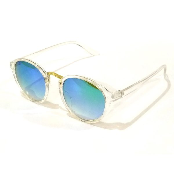 Green Mirror Round Sunglasses Transparent Frame