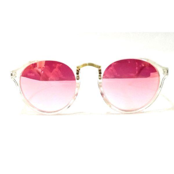 Pink Mirror Round Sunglasses Transparent Frame