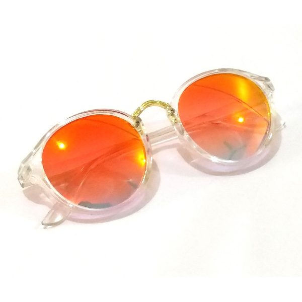 Orange Mirror Round Sunglasses Transparent Frame