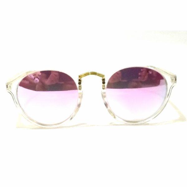 Purple Mirror Round Sunglasses Transparent Frame