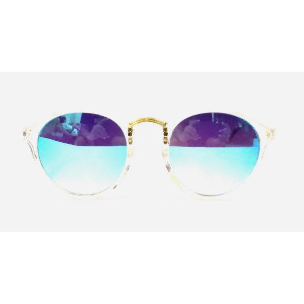 Blue Mirror Round Sunglasses Transparent Frame