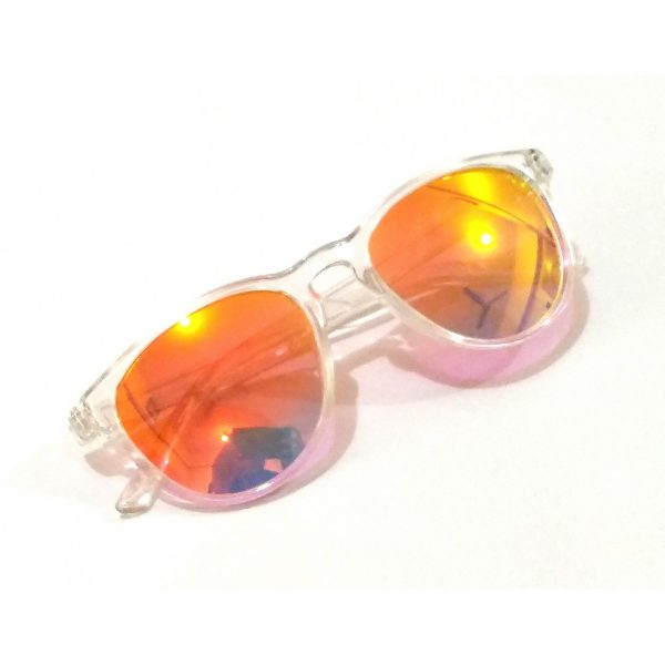 Orange Mirror Sunglasses with Transparent Frame