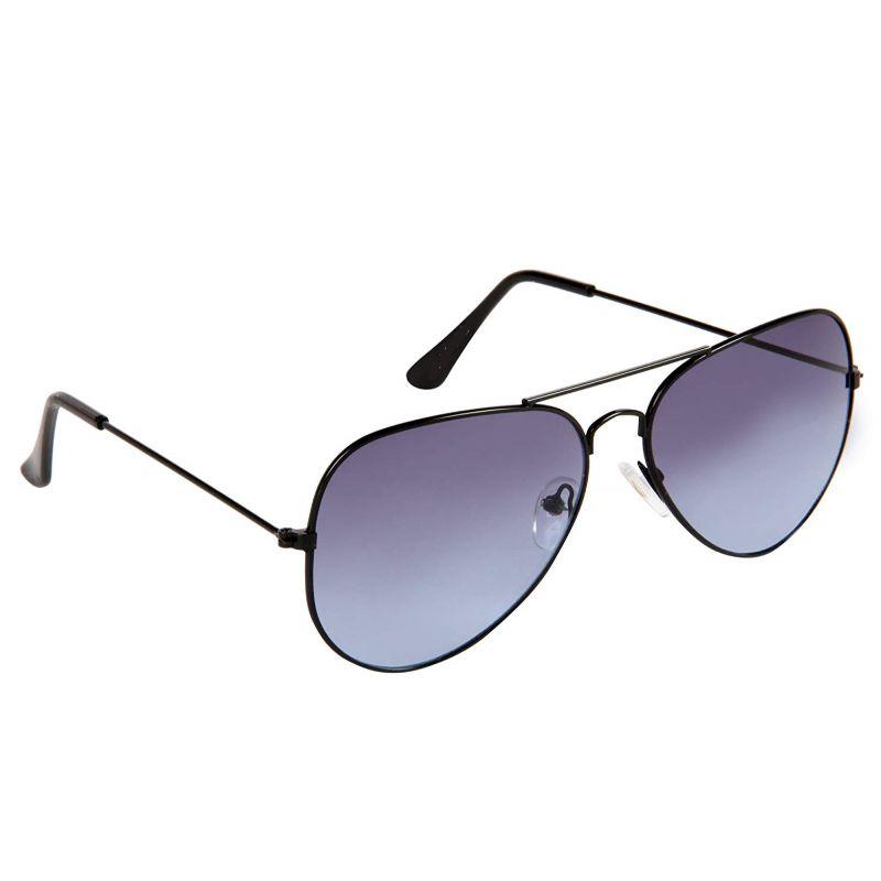 Sigma Black Frame Blue Lens Aviators Sunglasses for Men and Women