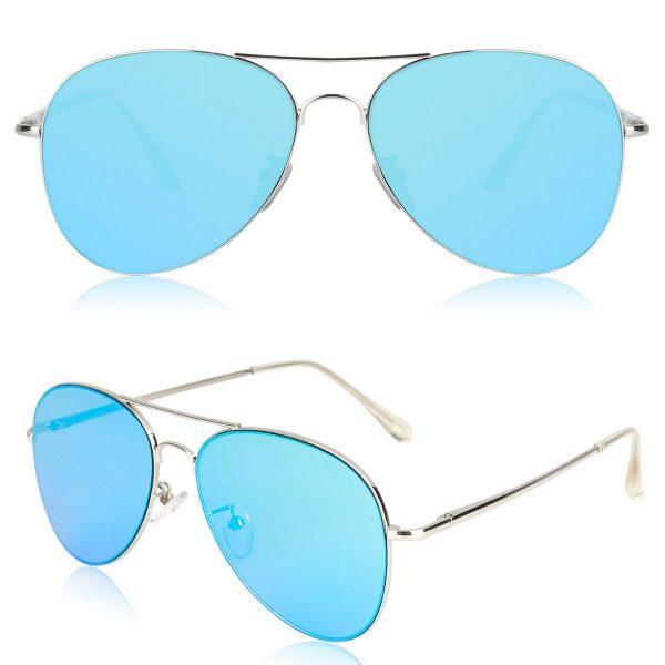 Blue Mirror Aviator Sunglasses with Spring