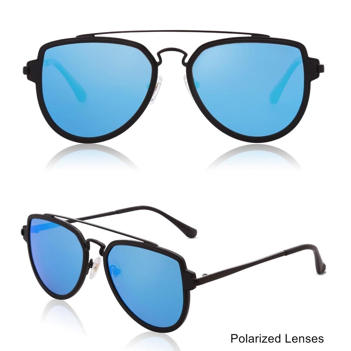 Double Bridge Black Blue Mirror Polarized Sunglasses