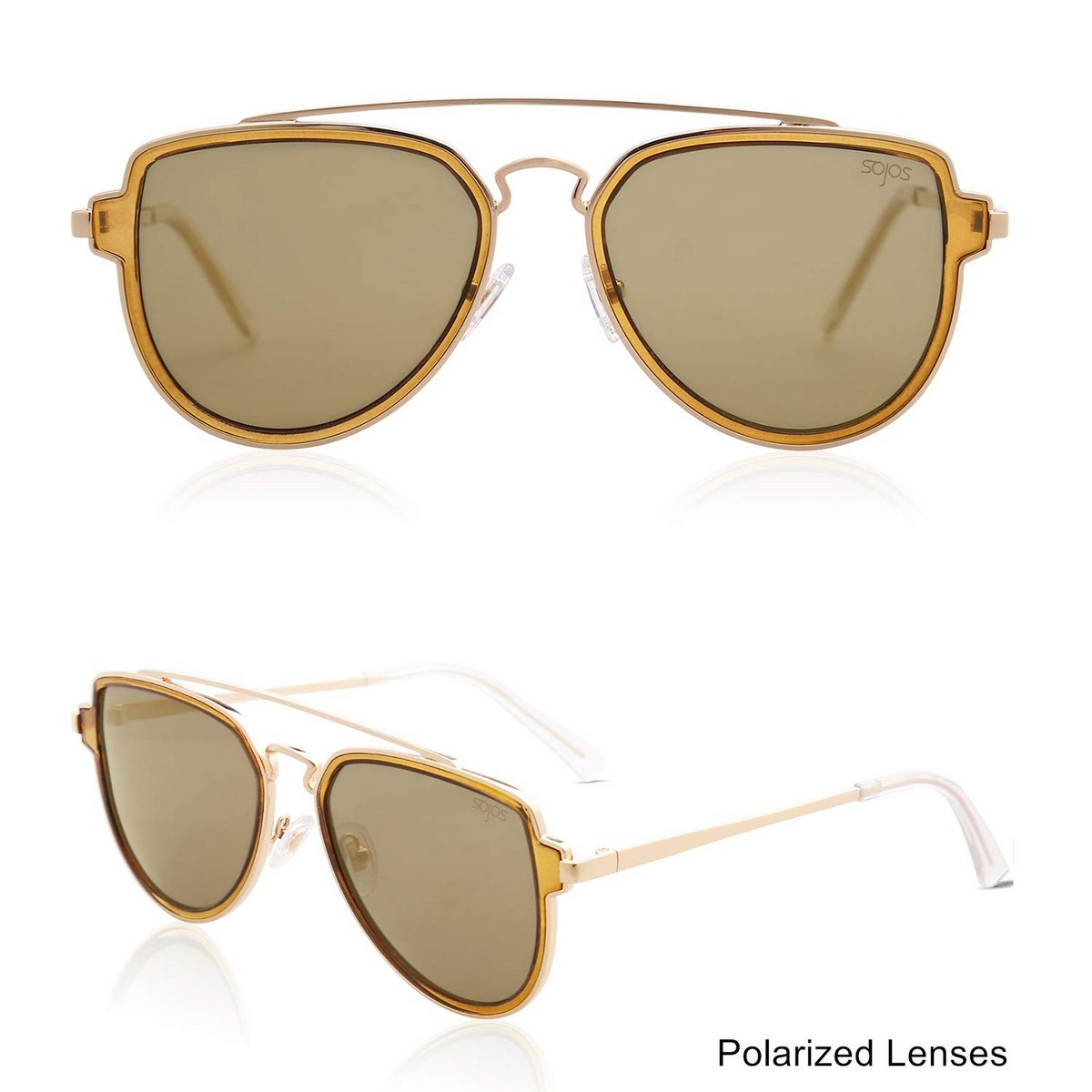Double Bridge Gold Frame Brown Mirror Polarized Sunglasses