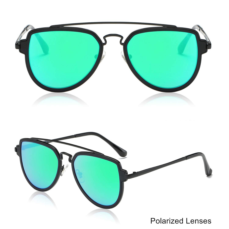 Double Bridge Black Green Mirror Polarized Sunglasses
