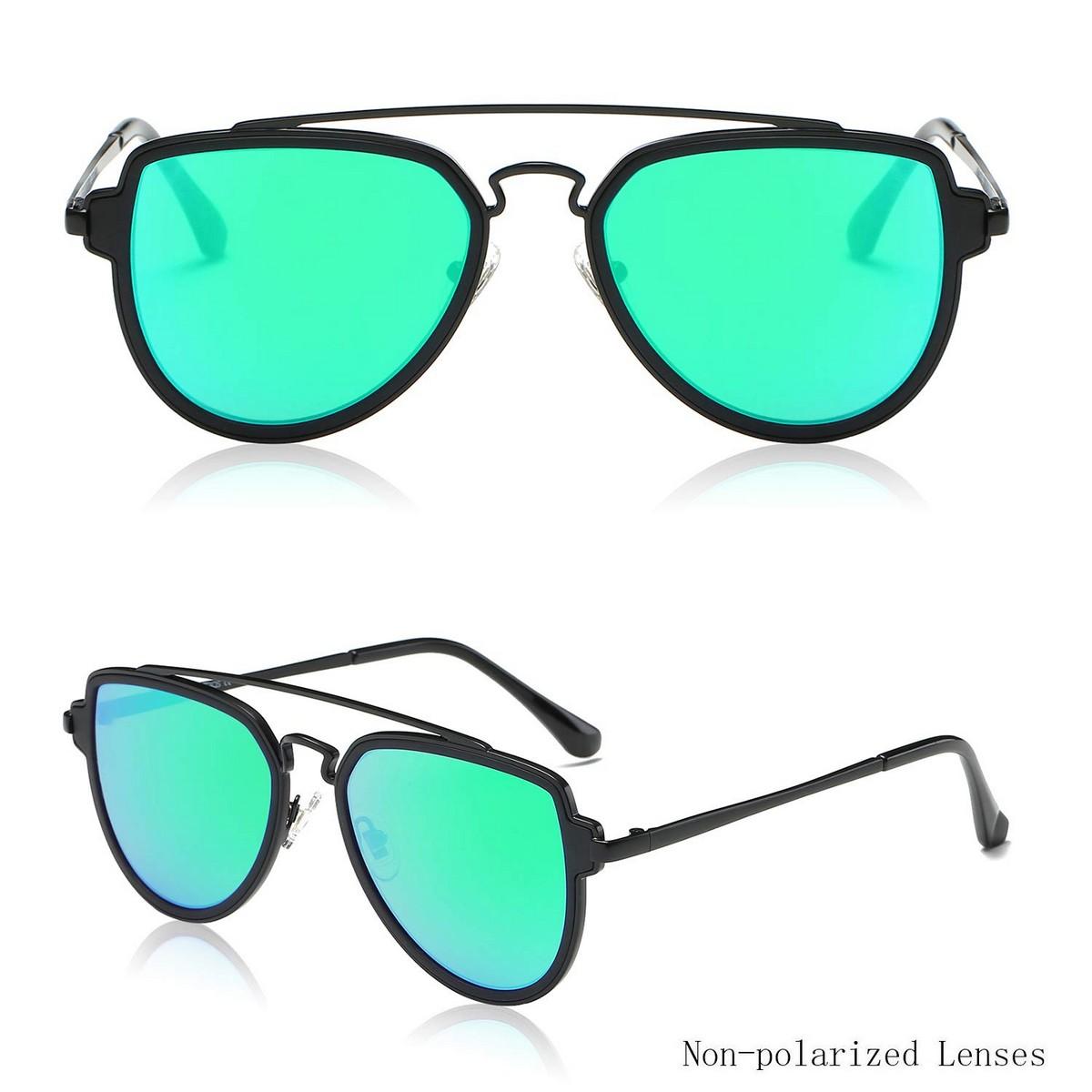 Double Bridge Matt Black Green Mirror Sunglasses
