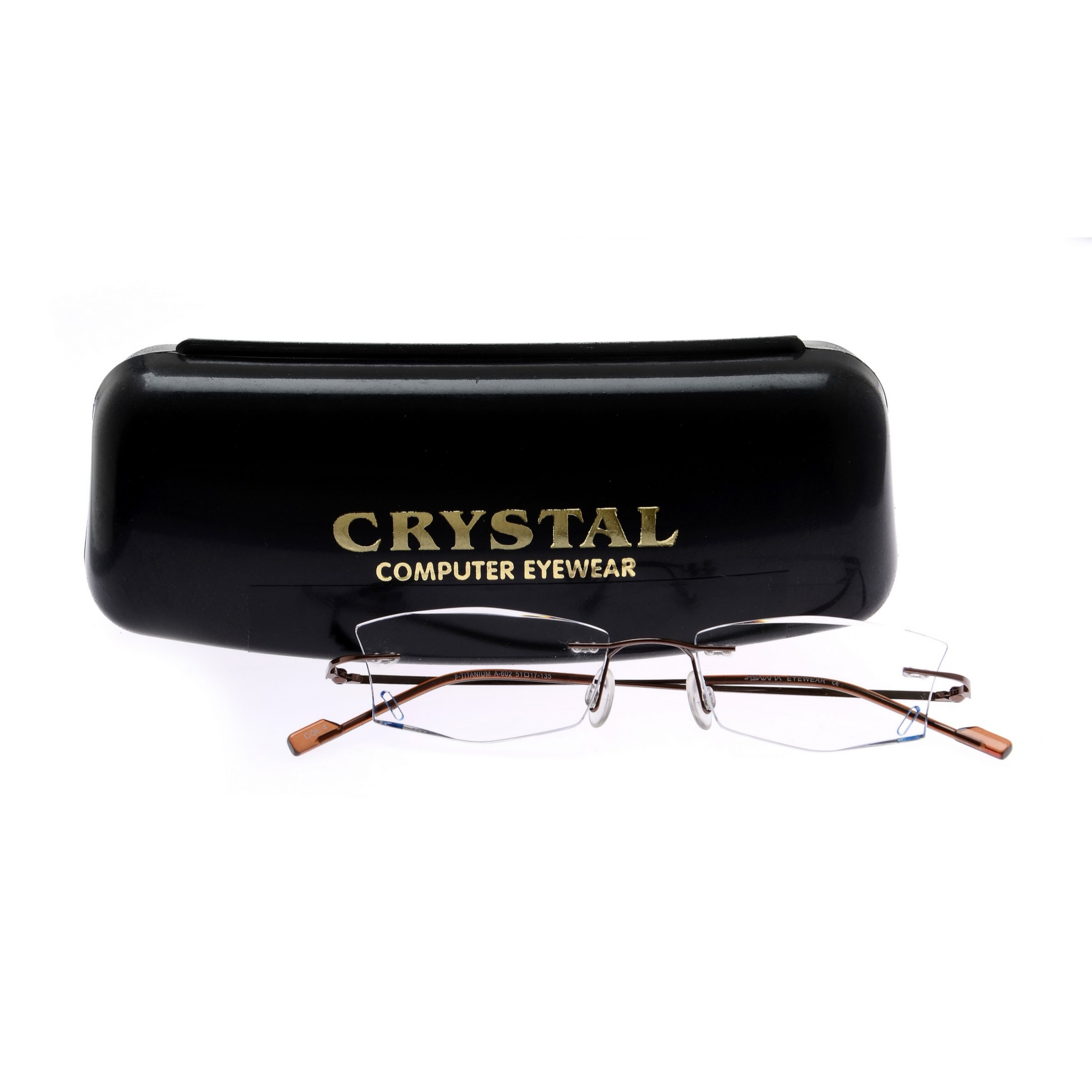 Crystal Weightless Brown Designer Rimless Computer Glasses A602Brbd