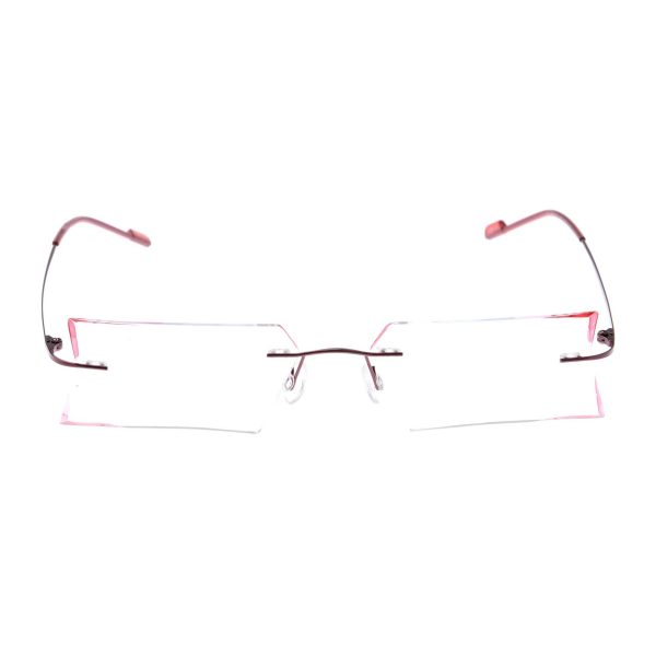 Crystal Weightless Red Designer Rimless Computer Glasses A605RdHexa