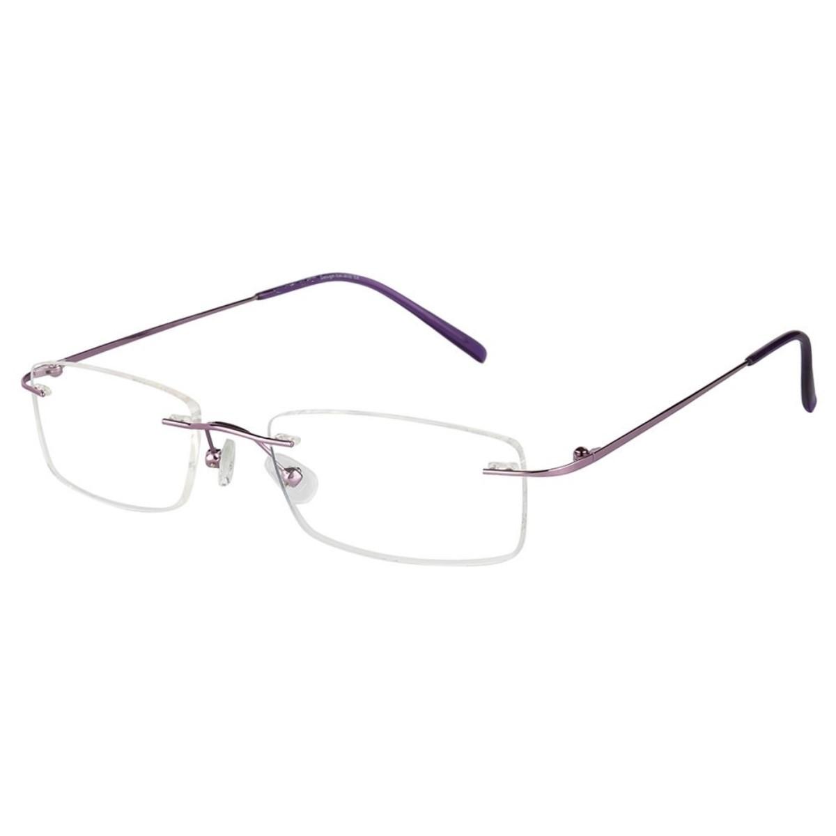 Purple Rimless Computer Glasses with Anti Glare Coating