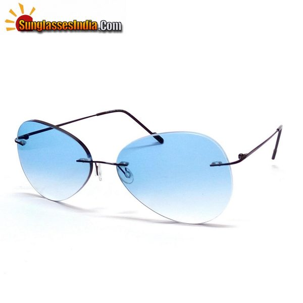 Blue Ultra Light Weight Rimless Aviator Sunglasses for Men and Women