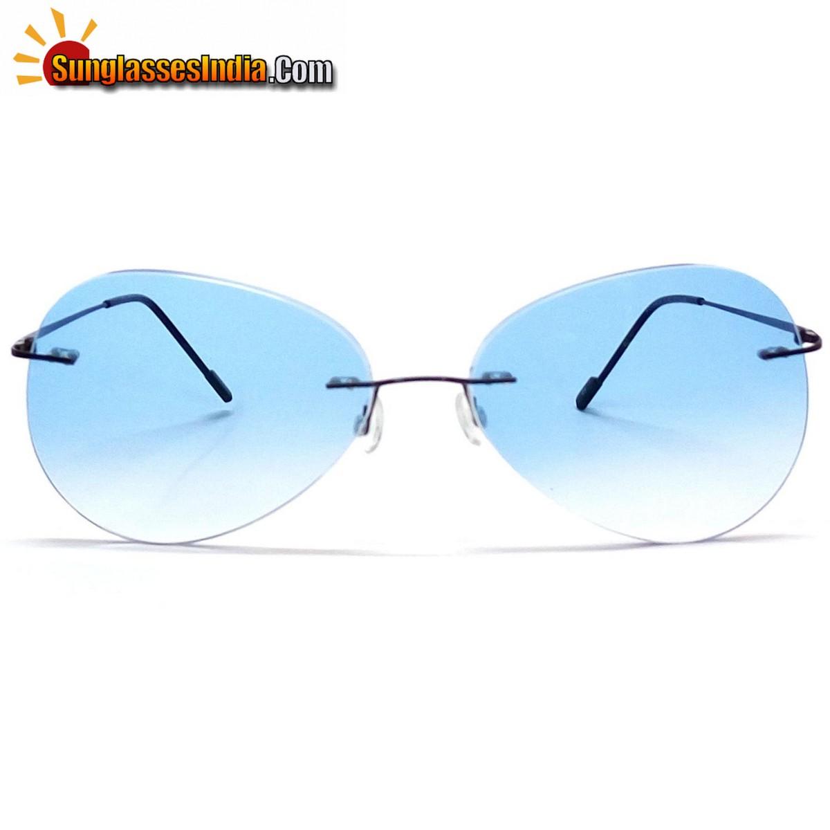 Blue Ultra Light Weight Rimless Aviator Sunglasses for Men and Women
