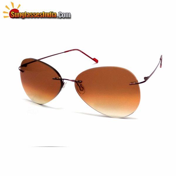 Brown Ultra Light Weight Rimless Aviator Sunglasses for Men and Women