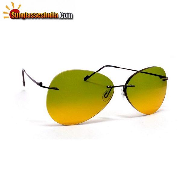 Day Night Ultra Light Weight Rimless Aviator Sunglasses for Men and Women