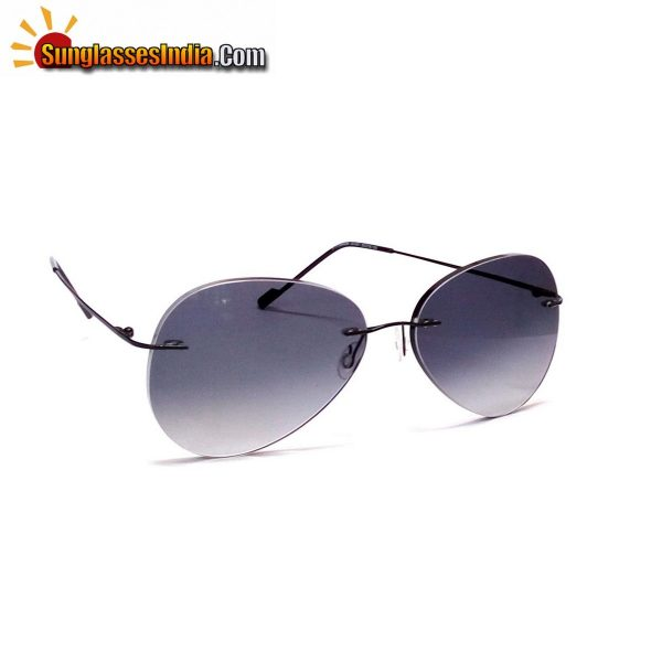 Grey Ultra Light Weight Rimless Aviator Sunglasses for Men and Women
