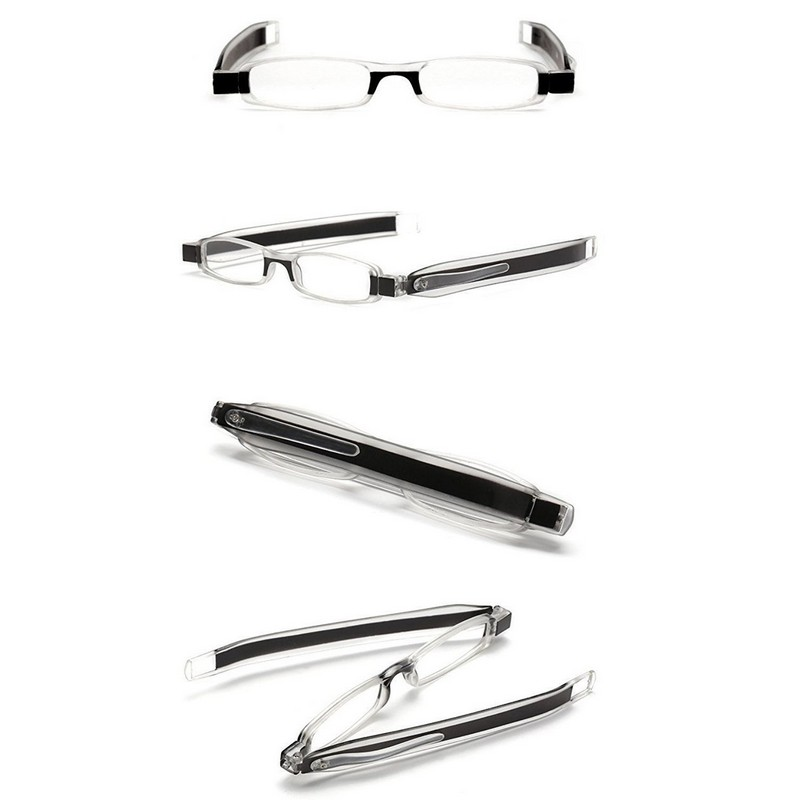 180 Degree Rotating Tube Pen Clip Folding Reading Glasses